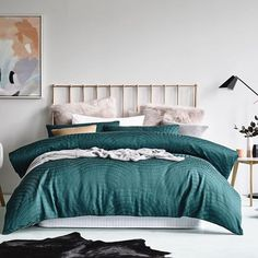 Check out those faux fur, soft pink Euro's paired with the Linden Emerald quilt cover. We've taken winter styling up a notch. #bedlinen #quiltcover #bedroom #bedroominspo #bedroomstyling #bedroomdecor #bedroomideas #homestyling #homedecor #homeinterior #interiordesign #fauxfur #emerald #adairs