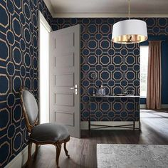 Sashiko Navy takes rich, textured navy substrate and embellished with copper metallic geometric detailing. Navy Wallpaper, Blue Wallpapers, Home Wallpaper, Wallpaper Designs, Blue Wallpaper Bedroom, Accent Wallpaper, Copper Wallpaper, Interior Wallpaper, Metallic Wallpaper