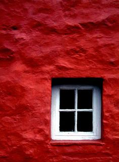 Red wall white window