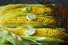 Grilled Corn w/ Lime Cilantro Wasabi Butter -  1 stick of butter, softened to room temperature  Zest of 1 lime  2 tablespoons finely chopped cilantro  Wasabi paste (1 tablespoon-ish)  Corn in husk  Directions:  Combine all butter ingredients. Use fork to mash and mix well.  Lay a large piece of plastic cling wrap on counter.  Spoon butter on the wrap and fold plastic over.  Mold and roll into a cylinder shape. A sushi bamboo mat worked well.  Chill for at least 30 minutes.