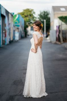 David's Bridal bride Danika in Melissa Sweet Beaded Cap Sleeve Lace Wedding Dress style # MS251122 | A Rustic And Intimate Wedding In Australia | Love My Dress® UK Wedding Blog