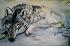 Wolf. Painting.