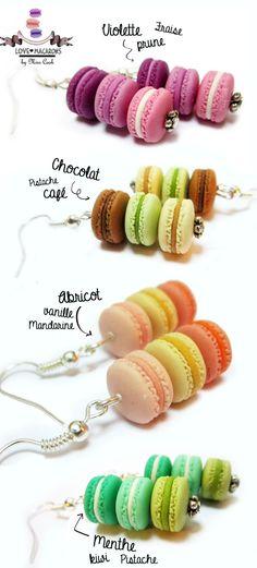 Boucles d'oreilles trio de macarons
