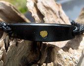Argillite, Gold Nugget and Leather Braided Bracelet