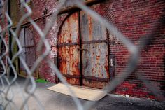 Warehouse door below the Brooklyn Bridge