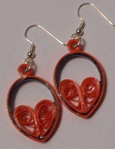 Fun Orange and Black Earrings  Cute Teardrop Heart Upcycled Recycled Paper #Handmade
