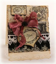 Shabby...Christmas card...inked cream & black with lace & burgundy bow.