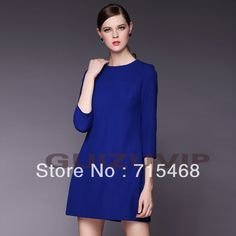 2013 autumn and winter women's dress, Europe and loose big yards OL thin dress, black and blue polyester fabric dress S-3XL $23.50