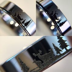 Unique Custom Engraved Tungsten Ring, Men's Promise Rings, Animal Landscape Scene Reindeer Deer Stag Ring Engraved Tungsten Wedding  Band, His and Hers Bands, Wedding Band Set . Available 4mm-12mm width.