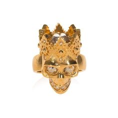 Alexander Mcqueen Crowned Skull Ring ($284) ❤ liked on Polyvore featuring jewelry, rings, gold, swarovski crystal jewelry, drusy jewelry, alexander mcqueen jewelry, crown jewelry and skull jewellery