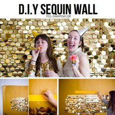DIY gold sequin wall for photo booth #sparklingeverafter