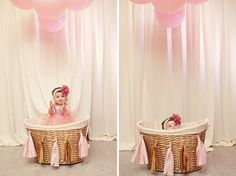 Laundry basket painted in gold idea A Glittering Pink and Gold Hot Air Balloon Themed Birthday Party