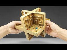 How to Make a Marble Labyrinth Game from Cardboard 3d Maze, Marble Card, Labyrinth Game, Carton Diy, Diy Karton, Genius Ideas, Clever Tips, Marble Games, Wood Games