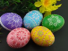 Set of 5 Easter Eggs, Decorated Chicken Eggs, Wax-Embossed Polish Pysanky, Kraslice Easter Egg Designs, Easter Ideas, Polish Easter, Love Holidays, Egg Art, Chicken Eggs, White Gift Boxes, Egg Decorating, Easter Crafts