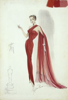 """Helen Rose costume design for Esther Williams in """"Easy to Love"""" Vintage Fashion Sketches, Fashion Illustration Vintage, Fashion Design Sketches, Fashion Illustrations, Fashion Designers, Helen Rose, Vintage Dress Patterns, Vintage Dresses, Vintage Outfits"""
