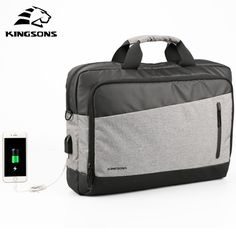 KINGSONS men handbag inch Laptop bag Casual Men Totes USB Charging Shoulder Crossbody Bags Men's and women Messenger Bag Sierra Leone, Belize, Uganda, Sri Lanka, Nylons, Mongolia, Seychelles, Casual Bags, Men Casual