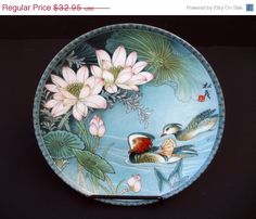 1988 Chinese Imperial Jingdezhen Porcelain Plate Ducks and Lotus Flowers