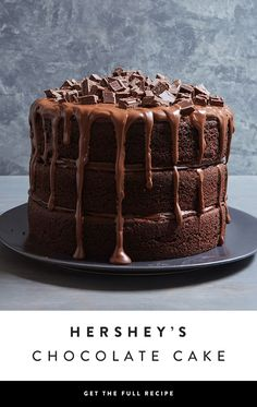 If double-chocolate isn't enough for you, try this recipe for three layers of the ultimate chocolate cake confection. Are you drooling yet? - via @PureWow via @PureWow