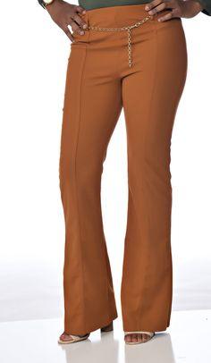 Bodysuit Shirt, Brown Pants, Flare Pants, Slacks, Polyester Spandex, Belt, Chain, Amp, Classic