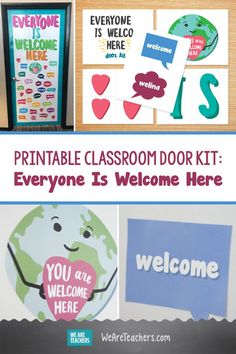 Printable Classroom Door Kit: Everyone Is Welcome Here. This door kit will help you create a beautiful, creative classroom door in just minutes. You can also use this design on a classroom bulletin board. World Bulletin Board, Welcome Bulletin Boards, Classroom Welcome, Back To School Bulletin Boards, Classroom Bulletin Boards, Classroom Door, Classroom Setup, World Language Classroom, Safe Schools