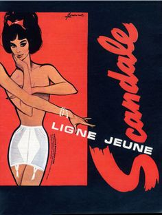 2/2 - Illustration by  Pierre Couronne, 1963, Girdle & Bra, Scandale Lingerie.