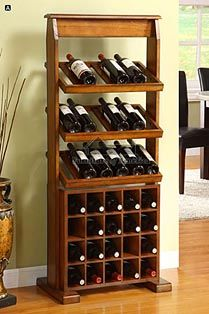 A.M.B. Furniture & Design :: Kitchen Accessories :: Wine Racks :: Guarda Antique Oak Solid Wood Finish Wine Cabinet Stores up to 38 Wine Bottles