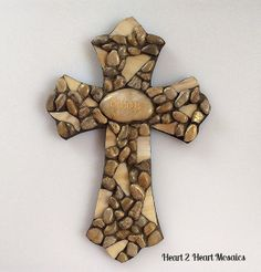 Blessings Cross Mosaic made of Small Stones by Heart2HeartMosaics, $35.00