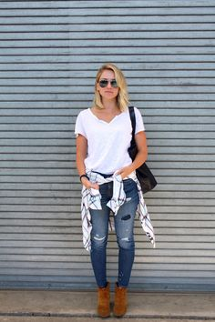 Tomboy Style - Slouchy White Tee, J.Crew Toothpick jean, Rails Hunter Button Down Shirt, Isabel Marant Dicker Ankle Boot, Madewell Monogrammed Transport Tote in Navy, Ray-ban Silver Mirror Aviator Sunglasses
