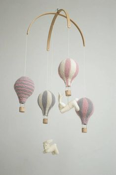Baby mobile / hot air balloon mobile / pink and gray mobile /
