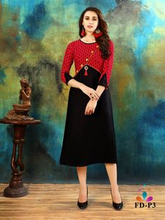 Black And Red Rayon Cotton Printed Designer Readymade Kurti Salwar Designs, Latest Kurta Designs, Kurti Sleeves Design, Kurta Neck Design, Stylish Dress Designs, Dress Neck Designs, Kurti Pakistani, Fancy Kurti, Party Wear Kurtis