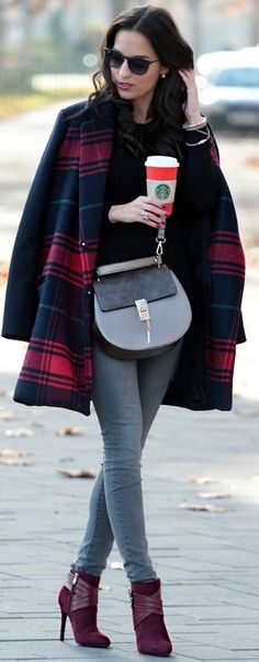 Plaid Coat Fall Street Style Inspo #Style and Blog