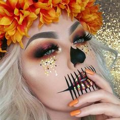 Autumn Inspired Skeleton Makeup for Skeleton Makeup Ideas for Halloween