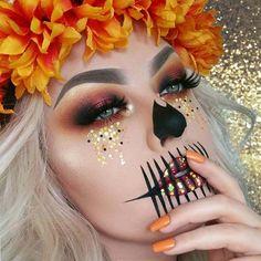 Pretty, Glittery Skeleton Makeup Idea for Halloween