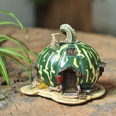 DIY Fairy Gardens - Page 119 of 1272 - Miniature Fairy Garden Green Gourd Fairy House. Fairy Garden Houses, Gnome Garden, House Gardens, Fairy Gardening, Fairies Garden, Fairy Village, Fairy Tree, Fairy Crafts, Fairy Furniture