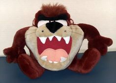 FOR SALE - 8 Inch Plush Talking Vibrating Taz Play-By-Play Stuffed Doll Toy Tasmanian Devil Looney Tunes 1997