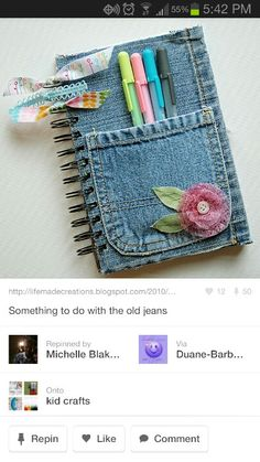 What to do with old jeans Diy Old Jeans, Old Jeans Recycle, Diy Crafts For Gifts, Crafts To Make And Sell, Recycled Denim Crafts, Revamp Clothes, Cute Journals, Jean Crafts, Denim Ideas