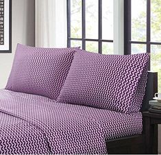 Purple Chevron Stripes Pattern Sheets Full Set Modern Bedrooms Zigzag Horizontal Stripes Inspired Design Fully Elasticized Fitted Wrinkle Free Vibrant