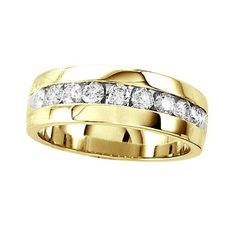 1 Ct New Yellow Gold Mens Comfort Fit Diamond Wedding Band Round Channel Ring #Band