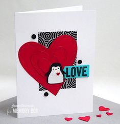Wrapped Stitch Hearts, Happy Penguin and Rectangle Basics by Jean Okimoto by the Memory Box Design Team Valentines Card Design, Valentine Day Cards, Valentines Diy, Holiday Cards, Penny Black Karten, Penny Black Cards, Memories Box, Kunst Shop, Easy Diy Valentine's Day Cards