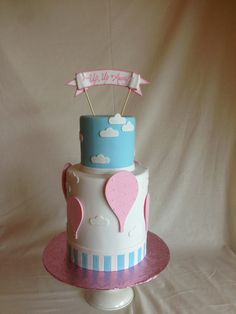 Up Up and Away  baby shower cake  hot air ballon cake  gender reveal cake…