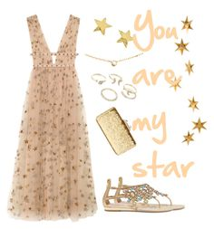 """""""You are my star"""" by betty-bossy ❤ liked on Polyvore featuring René Caovilla, Valentino, KOTUR, Livingly, Lipsy, Gorjana and Cartier"""