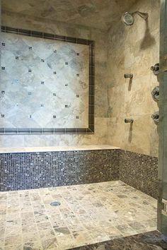 Dark Travertine Tile bathroom - filled honed travertine with emperador dark marble
