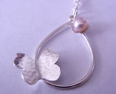 Butterfly Pearl Necklace by megangillis on Etsy, $52.00