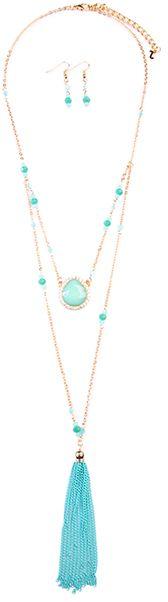 Blue & Goldtone Multi-Strand Tassel Necklace & Earrings Set