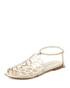 668c015bb3f2c Oscar de la Renta Begonia Ankle-Wrap Flat Slingback Sandal