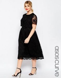ASOS CURVE Lace Crop Top Skater Midi Dress
