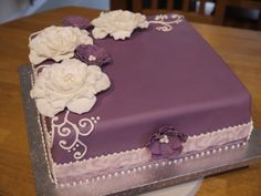 Elegant Square Birthday Cakes for Women | Purple - Birthday cake for a friend! Plain sponge filled with vanilla ...
