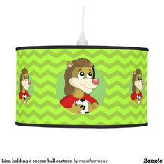 Lion holding a soccer ball cartoon hanging lamp