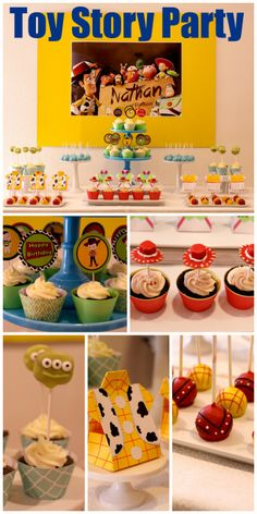 Awesome Toy Story birthday party ideas! All the characters (Woody, Buzz Lightyear, and Jesse) are represented in this dessert table! See more party ideas at CatchMyParty.com.