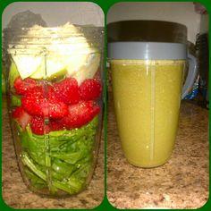 #nutribullet getting healthy -> Spinach, strawberries, raspberries, apple, banana #BeforeandAfter #nutriblast